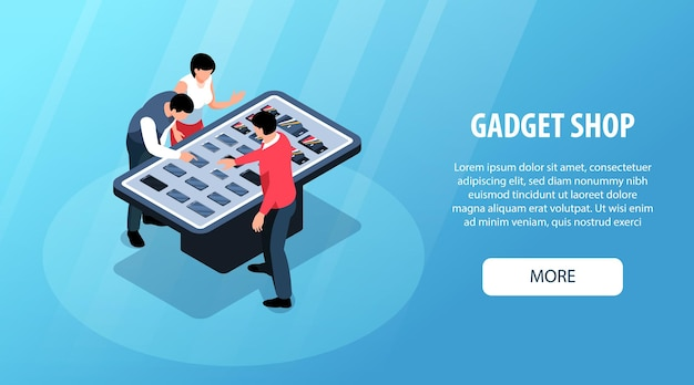 Isometric gadget shop horizontal banner with store display characters of consumers assistant and text with button