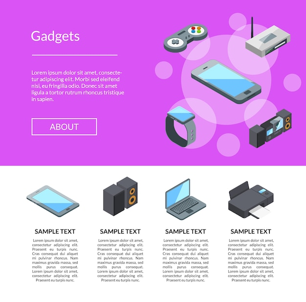 Isometric gadgets icons landing page template