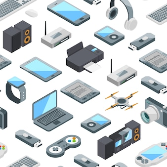 Isometric gadgets icons pattern or  illustration