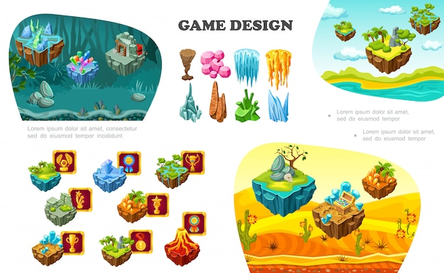 Isometric game design elements composition with nature landscapes volcano treasure chest crystals minerals stones achievement buttons mine dynamite
