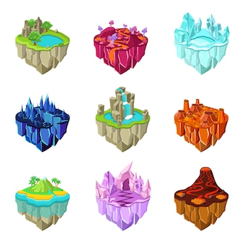 Isometric game islands set