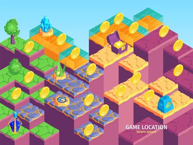 Composizione del paesaggio di gioco isometrico di piattaforme quadrate con diversi oggetti di superficie e tesoro