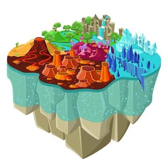 Изометрические игровой пейзаж концепция