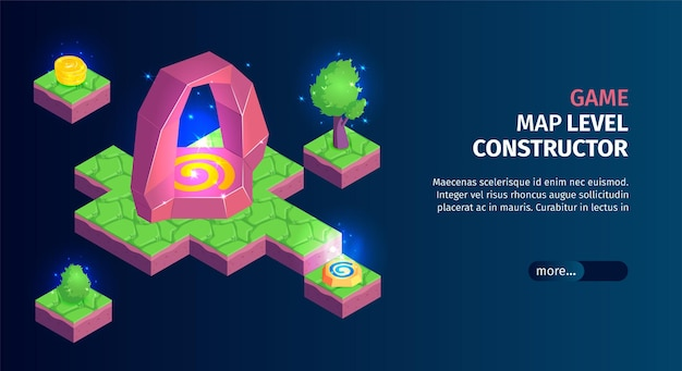 Isometric game landscape horizontal banner with platforms with gaming map constructor