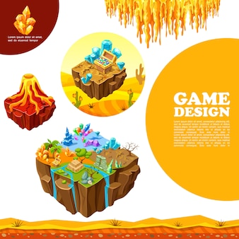 Isometric game landscapes template with volcano palms dry tree stones minerals crystals desert treasure chest stalactites