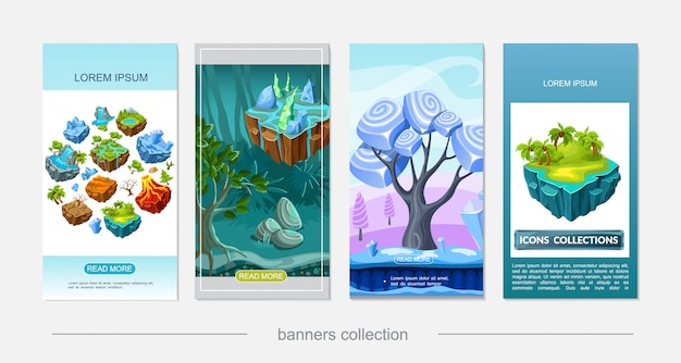 Insegne verticali di progettazione della natura del gioco isometrico con le palme del lago della foresta del vulcano della foresta del vulcano della cascata albero asciutto sui minerali delle pietre delle isole di volo