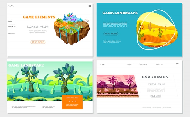 Isometric game nature design websites set with different grounds minerals stones desert river fantasy forest and mountains landscapes