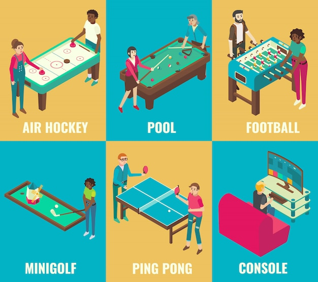 Isometric games set air hockey, pool, football, minigolf, ping pong and console elements