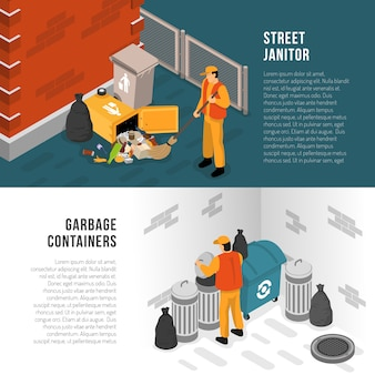 Isometric garbage recycling banner set