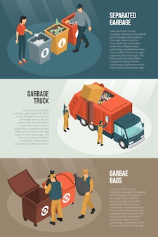 Isometric garbage recycling horizontal banner set
