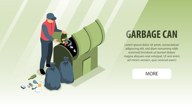 Изометрический горизонтальный баннер по переработке мусора с человеческим персонажем, бросающим мусор в мусорную корзину с текстом