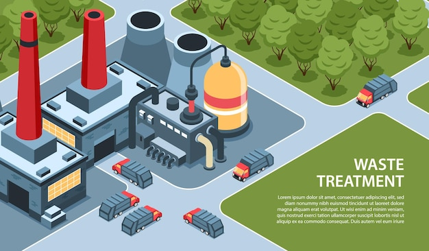 Isometric garbage waste recycling horizontal with outdoor landscape waste burning factory plant and editable text