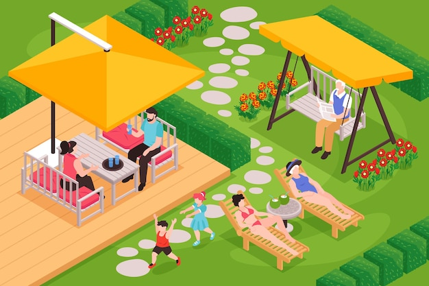 야외 뒤뜰 풍경과 다양한 연령대의 사람들이 즐거운 시간을 보내는 아이소메트릭 정원 가구 구성
