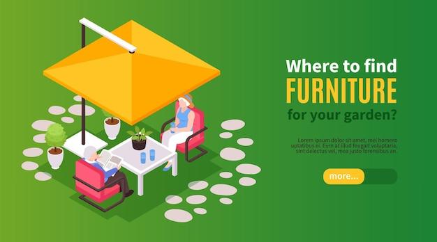 テキストスライダーボタンとテントキャップの下に座っている老夫婦と等尺性の庭の家具の水平バナー