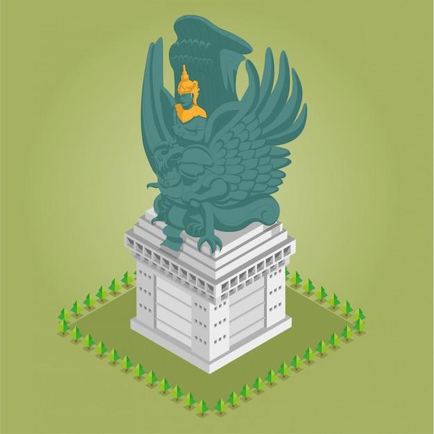 Isometric garuda wisnu kencana statue