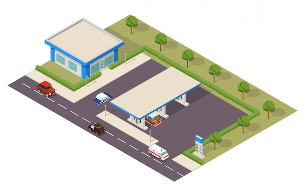 Isometric gas station with cars