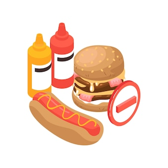 Isometric gastroenterology composition with images of burger hotdog and sauces with prohibition sign illustration