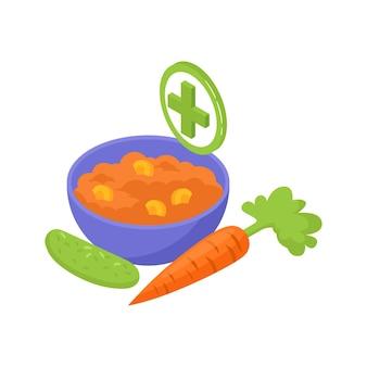 Composizione isometrica in gastroenterologia con immagini di cetriolo con carota e illustrazione di porridge