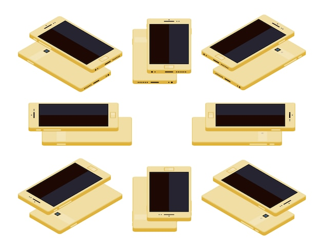 Isometric generic gold smartphone
