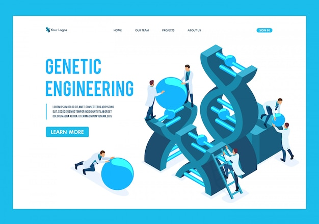 Isometric genetic engineering, dna structure, medical workers, scientists landing page