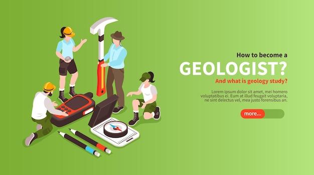 Изометрическая кнопка геологии и человеческие персонажи геологов иллюстрации
