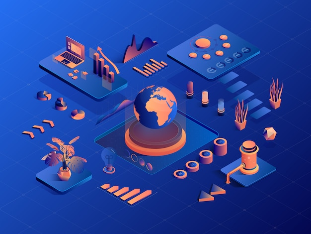 Isometric geometric business infographics with diagram and charts. 3d business, financial, marketing.
