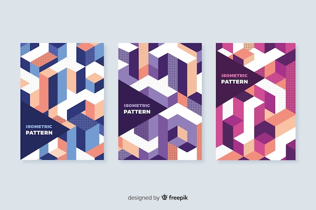 Isometric geometric pattern cover collection
