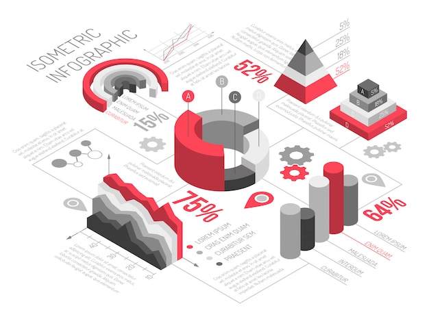 Isometric geometric solid infographics Free Vector