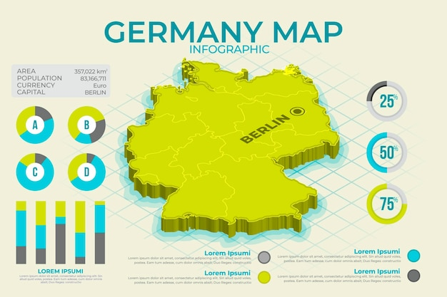 Isometric germany map infographic