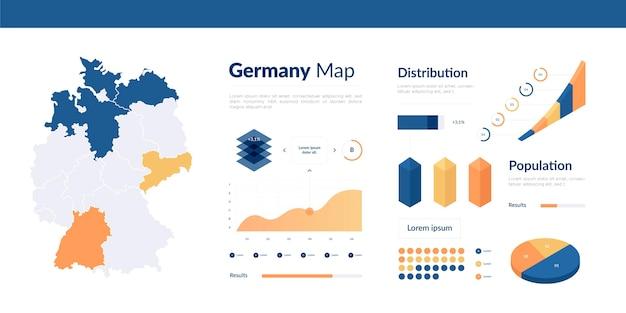 等尺性ドイツ地図インフォグラフィック