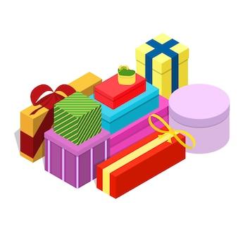 Изометрические подарочные коробки. подарок на новый год, рождество, свадьбу или день рождения. разноцветные бантики. векторная иллюстрация.