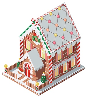 Isometric gingerbread house with gingerbread man and gingerbread woman and man  illustration