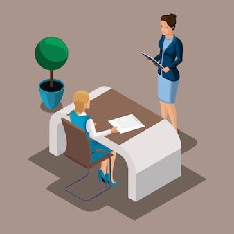 Изометрические девушка-предприниматель читает кредитный договор с банком, обслуживание клиентов в городском банке. кредит на открытие бизнеса