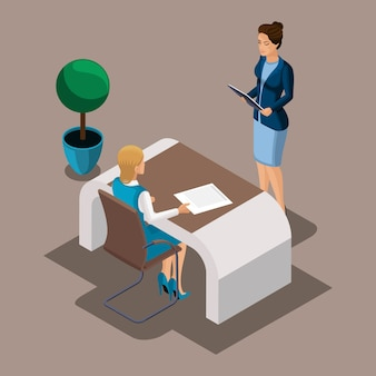 Isometric girl entrepreneur reads a loan agreement with a bank, customer service in a city bank. loan for opening a business