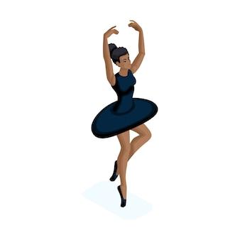 Изометрическая девушка афроамериканка, занимается гимнастикой, балерина, другая культура, национальность, молодой возраст.