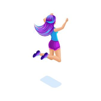 Изометрическая девушка прыгает, веселится, счастлива с красочными волосами, концепция волшебных ярких волос, креативная прическа, вид сзади