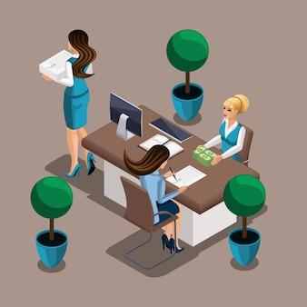 Изометрические девушка предприниматель подписывает кредитный договор с банком. сотрудник банка выдает наличные. собственный бизнес, работай на себя