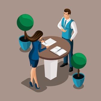 Изометрическая девушка предприниматель подписывает договор в офисе банка, сотрудник банка заключает договор. иллюстрация банковской структуры
