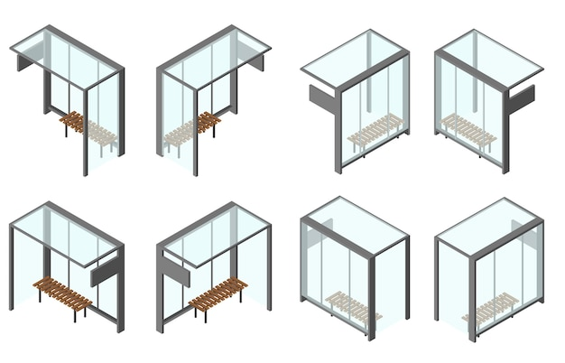 Isometric glass bus stop. set of 8 camera angles from different sides. bench for waiting. vector illustration. isolated on white background.