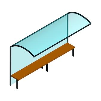 白で隔離のベンチが付いている等尺性のガラス都市バス停。ベクトルeps10。