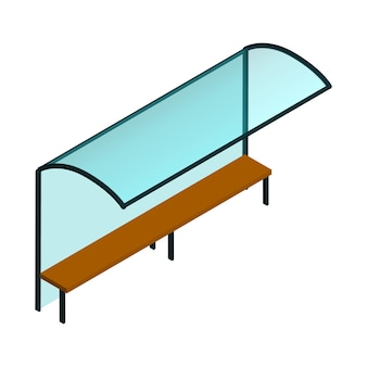 Isometric glass city bus stop with bench isolated on white. vector eps10.