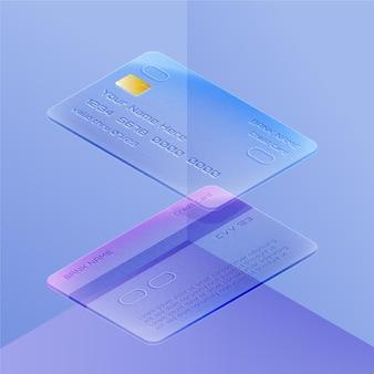 Isometric glass effect credit card