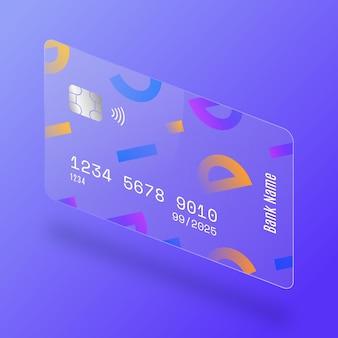아이소메트릭 유리 효과 신용 카드