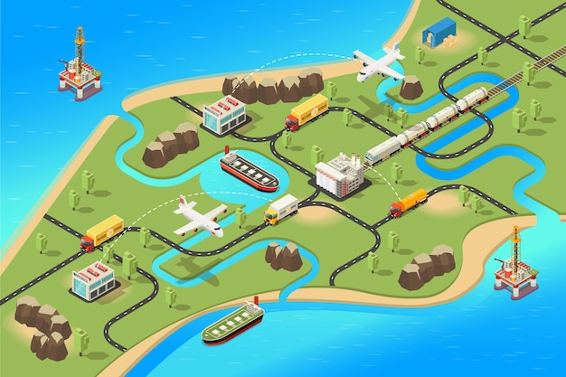 Isometric global logistics concept