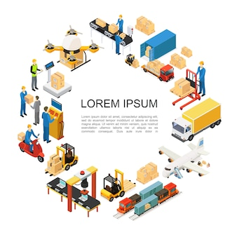 Isometric global logistics round composition with drone airplane train truck transportation forklift assembly and packaging lines weighing loading processes warehouse workers