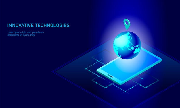 Isometric global networking planet earth business concept,