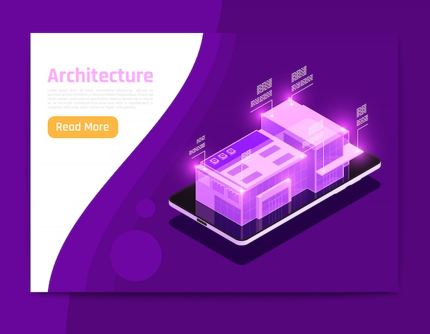Isometric and glow people and interfaces composition with banner  architecture description abstract elements vector illustration