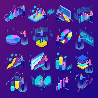 Изометрические светящиеся иконки бизнес-аналитики с людьми, делающими различные графики и диаграммы, 3d изолированных векторная иллюстрация