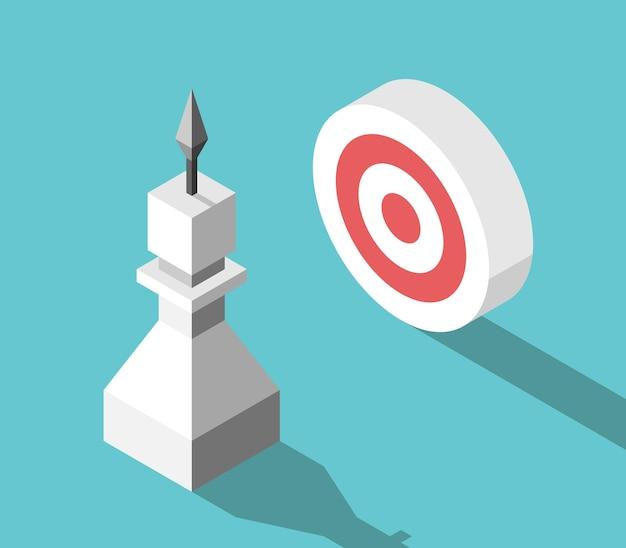 Isometric goalseeking white chess pawn with arrow and target purpose focus challenge aim