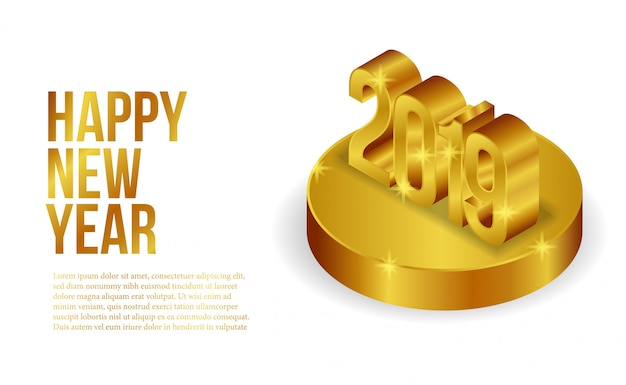 Isometric gold new year banner template